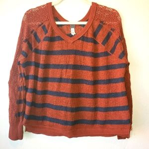 FREE PEOPLE stripped crochet slouchy distressed